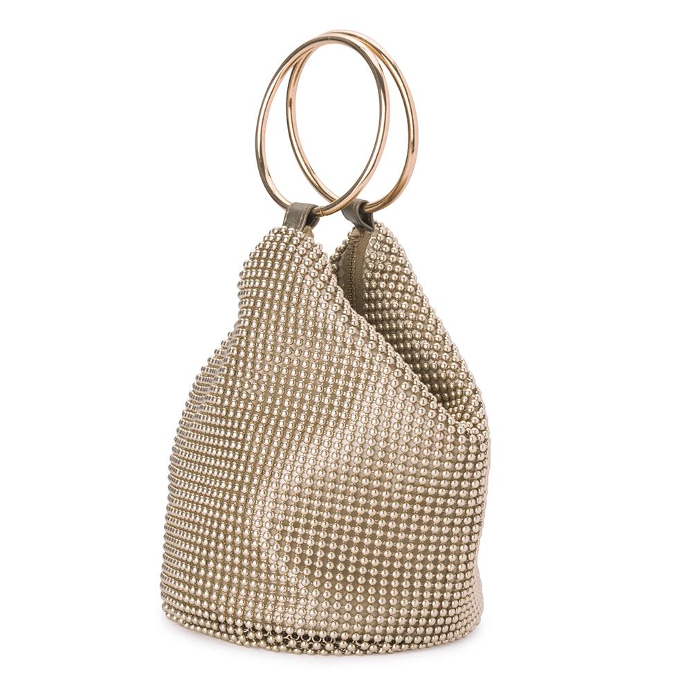 Olga Berg Bianca Ball Mesh Handle Bag Gold