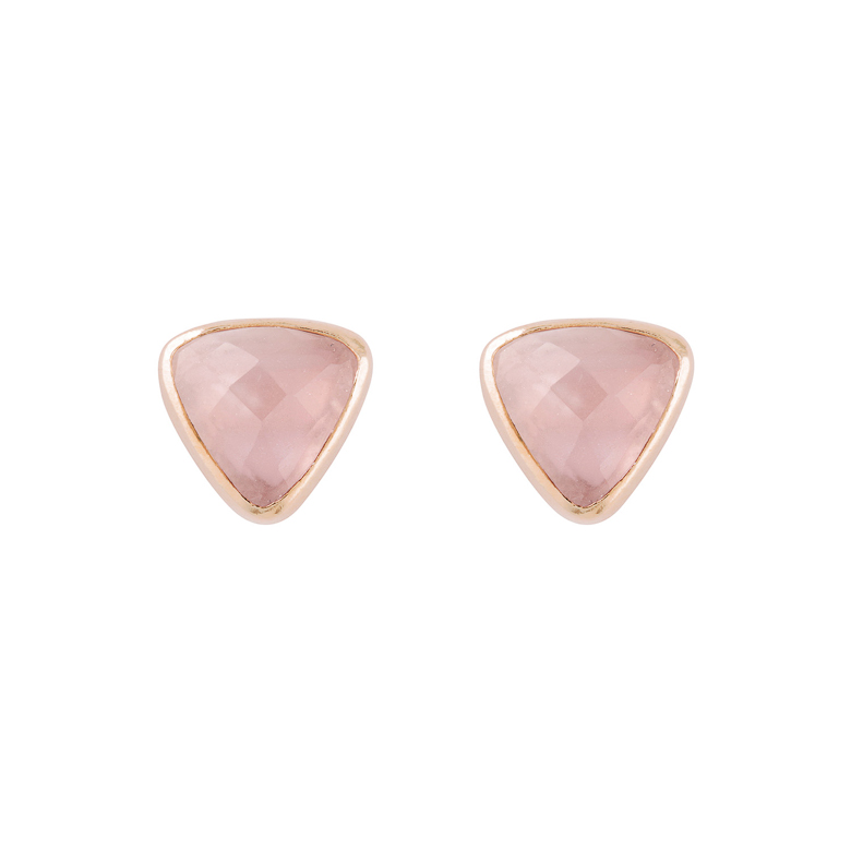 Nicole Fendel Pia Gemstone Stud Rose Quartz
