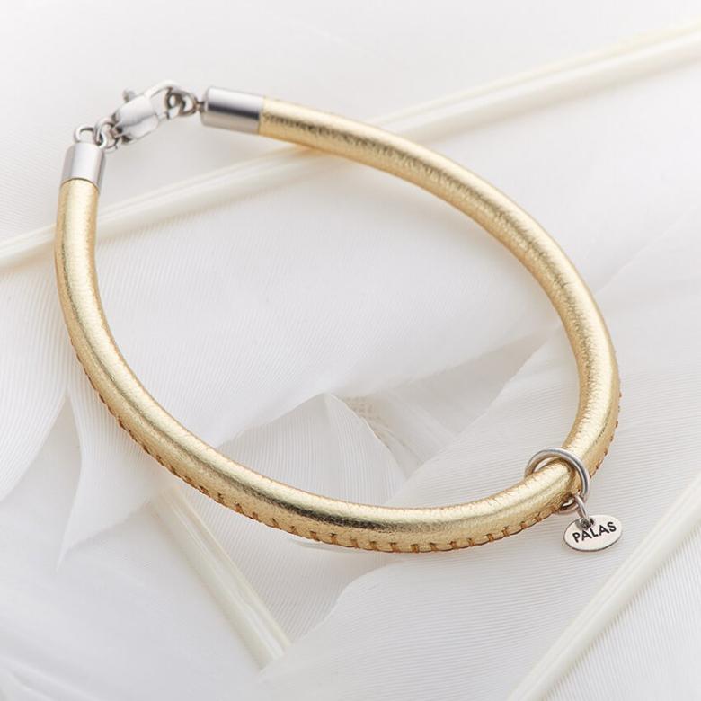 Palas Jewellery Fine Leather Bracelet Gold