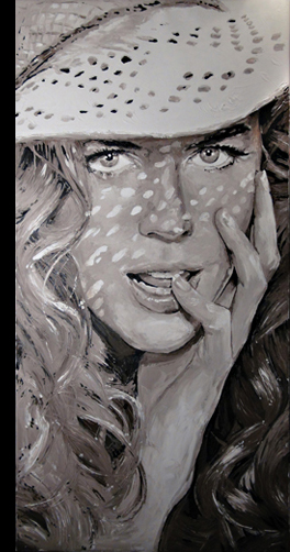 Vintage portrait of Nicole Kidman painted by Peter Engels