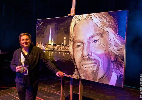 Richard Branson 'live' painted by artist Peter Engels. 'Virgin Unite' auction: Wednesday 20 June