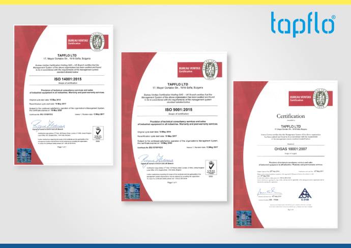Тапфло Болгария была успешно сертифицирована