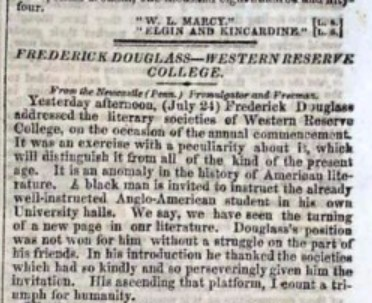 Frederick Douglass' 1854 Commencement Address