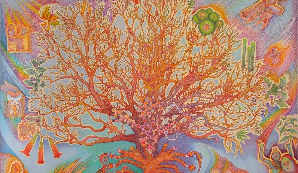 Ancient Soma Tree by Peter Eglington on view in The Great Mystery Show