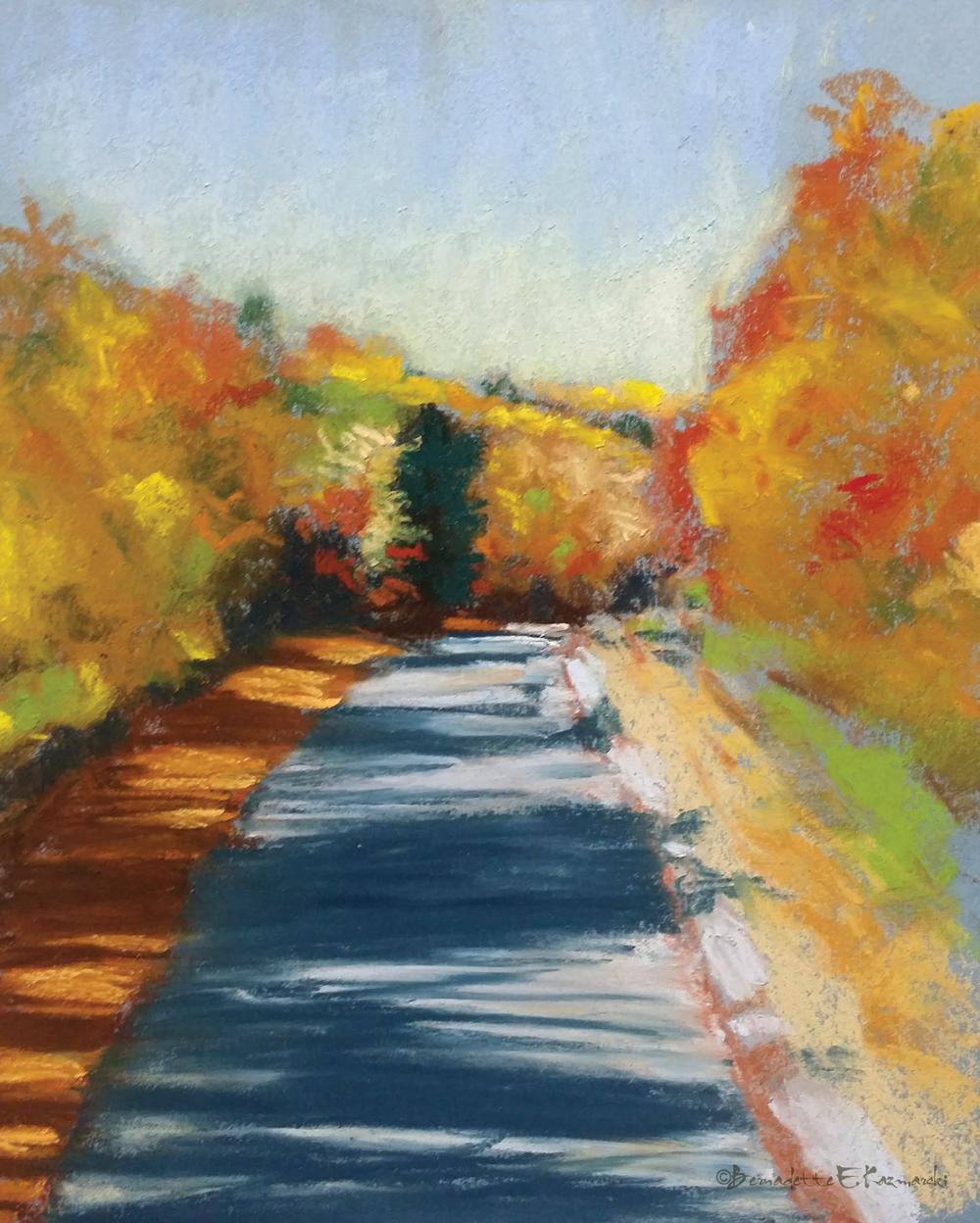 pastel painting of autumn trail
