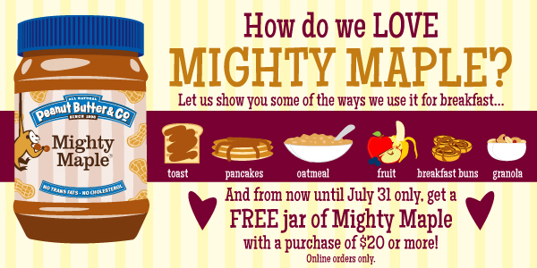 Get a FREE Jar of Mighty Maple Peanut Butter