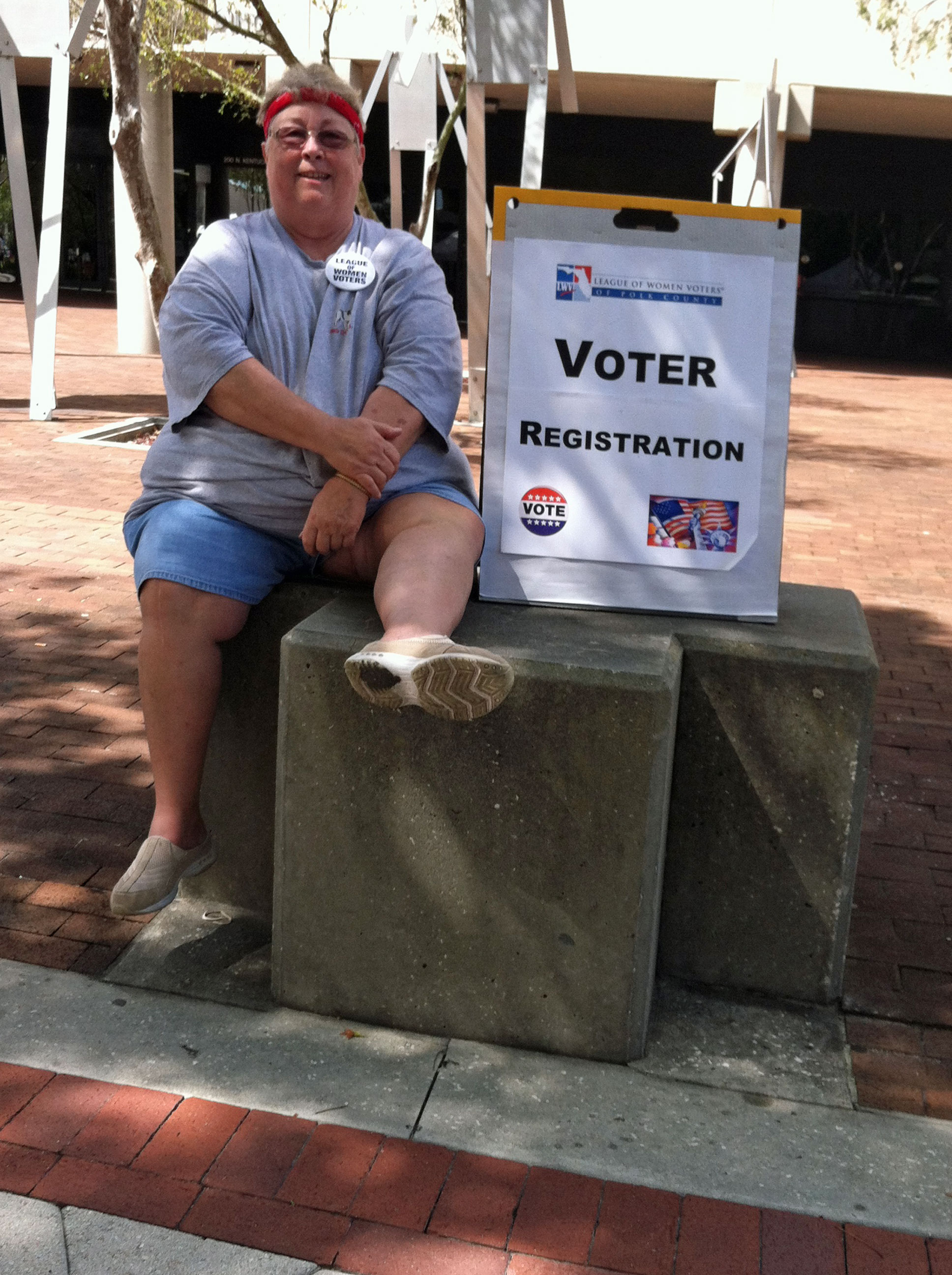 Ann and Voter Registration sign