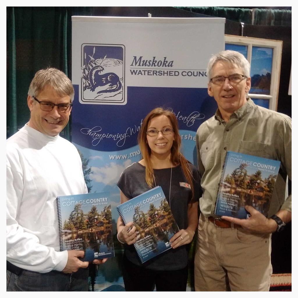 Parry Sound-Muskoka MPP Norm Miller stopped by the MWC booth at the Cottage Life Show to hang out with MWC staff and volunteers and promote the Living in Cottage Country Handbook.