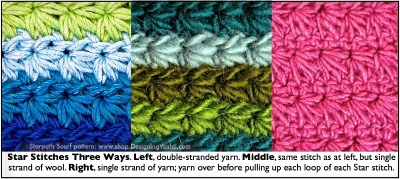 Starpath Scarf pattern: double-stranded, single stranded, and a yarn over version of stitch.