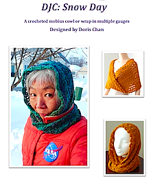 From the cover page of Doris Chan's Snow Day Cowl pattern for different yarn weights.