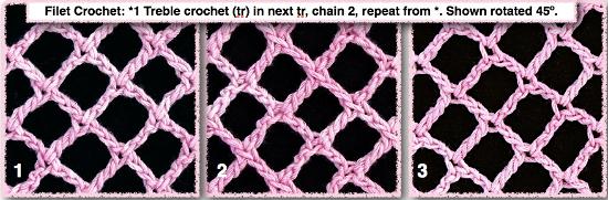 3 regular filet crochet nets rotated 45 degrees.