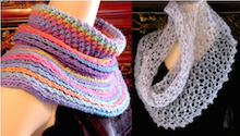 Clicking image goes to gallery of Orbit Cowl, Starwirbel, and other croceht cowl patterns.