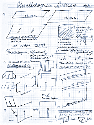 """""""Parallelogram Issues"""", a 2010 page form my design notebook."""