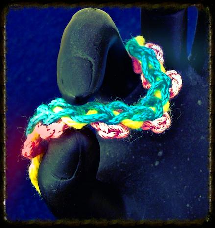 A compound chain stitch braid for beginning crocheters.