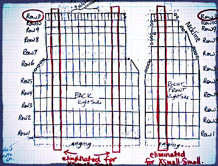 Schematic that became a stitching diagram for 2 sizes