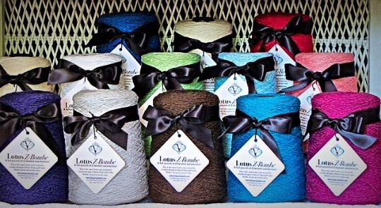 New Z-Bombes: one-pound cones of our Lotus yarn!