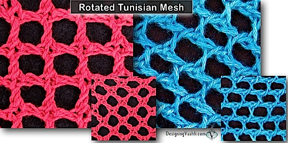 Two diagonal meshes in Tunisian crochet that are rotated so that they appear to be filet nets.