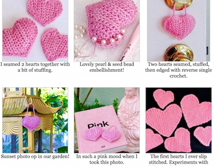 Gallery for the complete free slip stitch crochet heart pattern at the DesigningVashti blog.