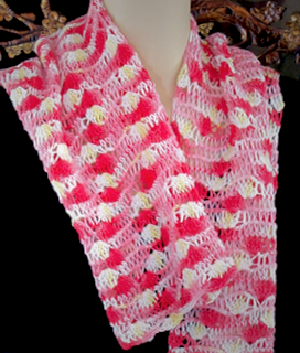A Tunisian lace pattern I developed to change the balance of this hand dyed yarn.
