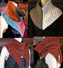 Tunisian Shakti Scarfythings 6 styles from cover page of the pattern.