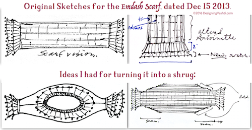 Schematic style of design variations for Emdash Scarf (link goes to Ravelry project page)
