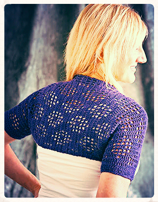 Filet Lacy Shrug designed by Mary Beth Temple for I Like Crochet magazine April 2015