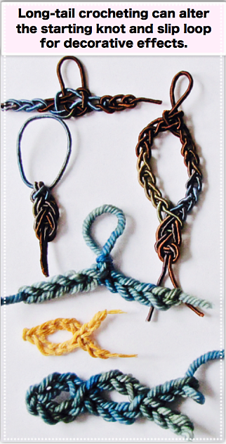 Long-tail crocheting can alter the starting knot and slip loop for decorative effects.
