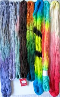 Hand dyed yarn hanks