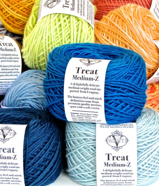 DesigningVashti Treat yarn: premium quality merino wool yarn. Medium wt., Z twisted, kettle dyed.