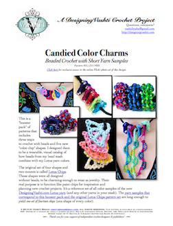 front page of new downloadable Candied Color Charms crochet pattern