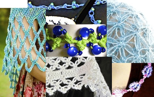Montage of Vashti patterns in Interweave Crochet summer issue