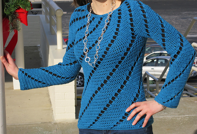 LadyGryphon's DJC Spirals Top in Teal Glimmer Lotus Yarn