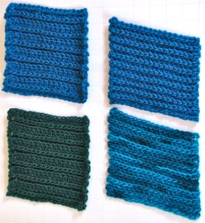 Leaning Ribs in Two Yarn Types