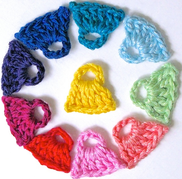 One-Yard Yarn Snips Crocheted into Color Chips