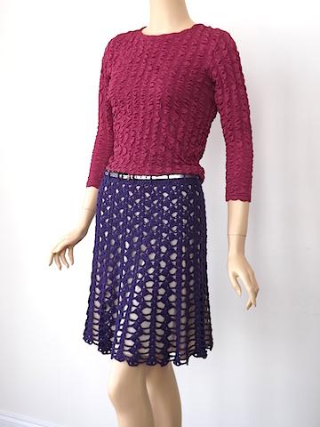 Doris Chan's free Jolimar Skirt in NEW Lotus Yarn: Purple Glow