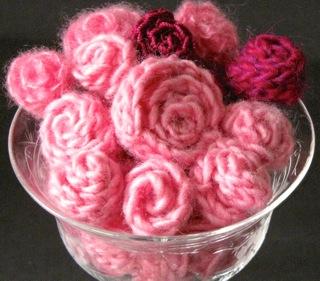Bowl of Miniature Slip Stitch Roses