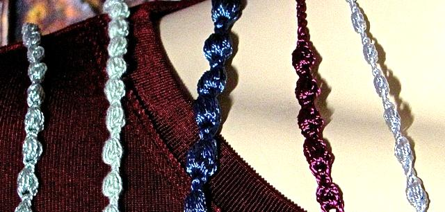 Five Rayon Threads Swatched for Puffpearls Cord Jewelry