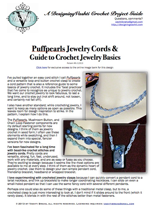 Puffpearls Jewelry Cords & How-to Reference for Crochet Jewelry