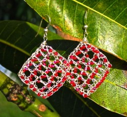 Pure silver wire crochet earrings designed by Vashti Braha
