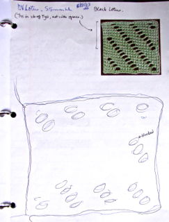 Swatch traced in notebook before and after blocking.