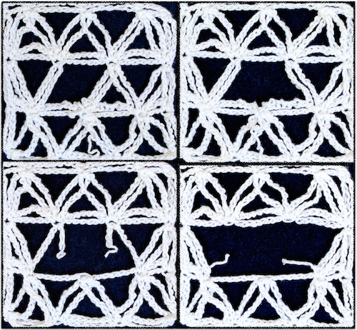 Chain Loop Lace, progressively steeked (cut and unraveled)