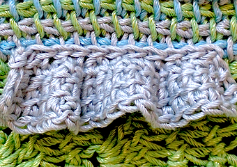 Another view of Tss strip ruffle, attached to multicolored Tss with slip stitches.