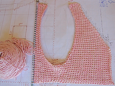 My life-sized schematic for the pink silk Tunisian Crystal Jubilee Vest