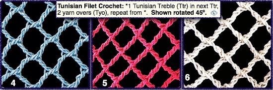 3 Tunisian filet nets rotated 45 degrees.
