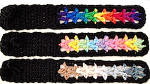 Three Valor Bracelets in all colors of DesigningVashti Lotus yarn.