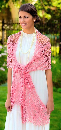 Crochet! magazine Spring 2017 page for I Do Shawl by Cindy Adams photo ©Annie's 2017