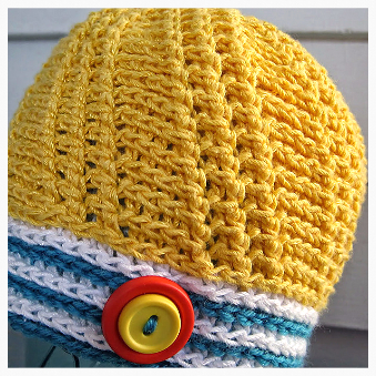 Spinnaker Baby Hat, a free crochet pattern by Sue Perez using Lotus Snacks! (mini balls)