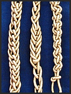 """Two on left are """"bugle braids"""" made with a crochet hook."""