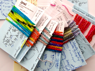 Color sequence info cards I create for variegated short-striping yarns