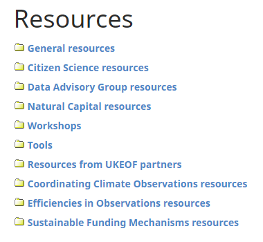 Resources - image of the menu for the UKEOF website, resources section